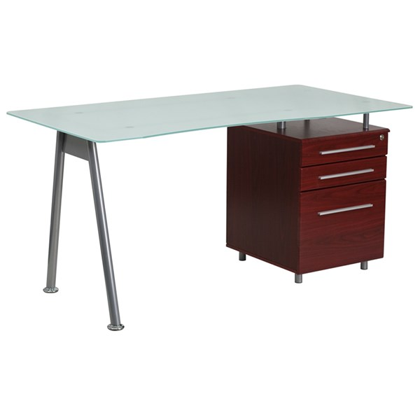 Flash Furniture Mahogany Computer Desk with Glass Top and Three Drawer Pedestal FLF-NAN-WK-021-MAH-GG