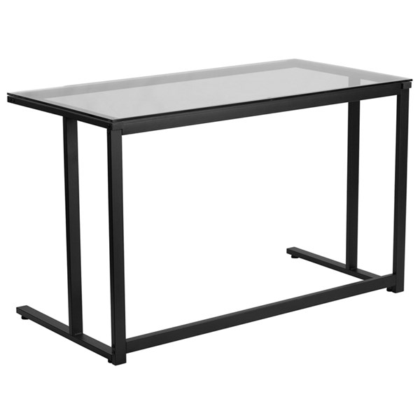Flash Furniture Clear Glass Desk with Black Pedestal Frame FLF-NAN-WK-055-GG