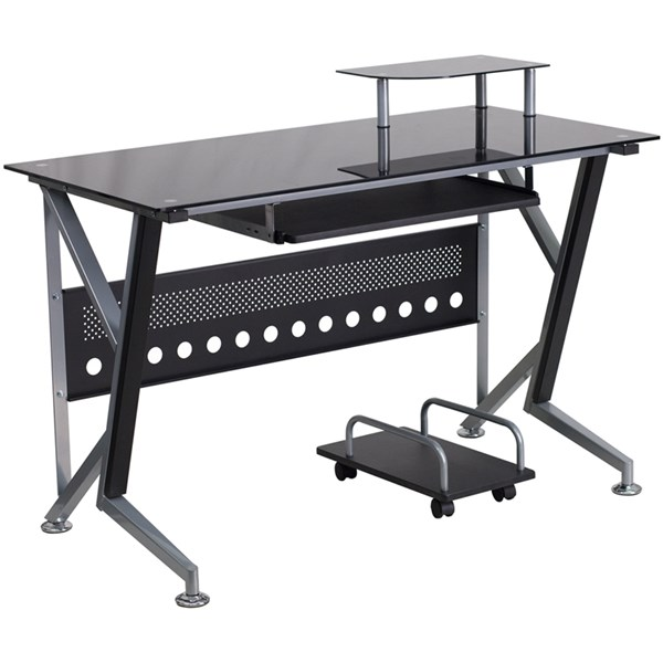 Flash Furniture Black Glass Computer Desk with Pull-Out Keyboard Tray FLF-NAN-WK-059-GG
