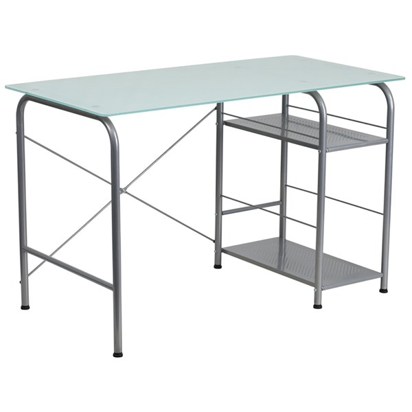 Flash Furniture Clear Glass Computer Desk with Open Storage FLF-NAN-WK-086-GG