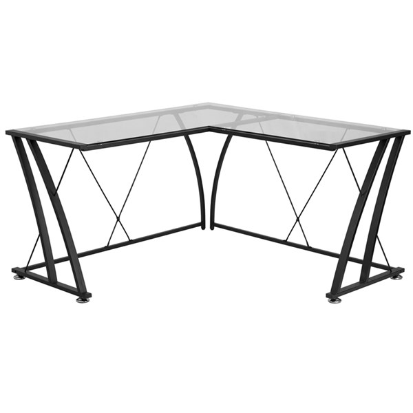 Flash Furniture Clear Glass L-Shape Computer Desk with Black Frame FLF-NAN-WK-096-GG