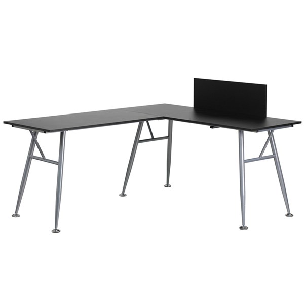 Flash Furniture Laminate L-Shape Computer Desks with Silver Frame FLF-NAN-WK-110-GG-ODSK-VAR