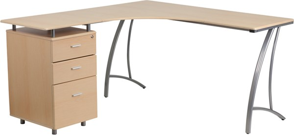 Flash Furniture Beech Laminate L-Shape Desk with Three Drawer Pedestal FLF-NAN-WK-113-GG