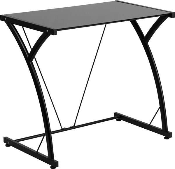 Contemporary Tempered Black Glass Computer Desk with Matching Frame FLF-NAN-WK-SD-02-BK-GG