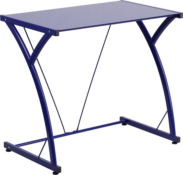 Contemporary Tempered Blue Glass Computer Desk with Matching Frame FLF-NAN-WK-SD-02-BLUE-GG