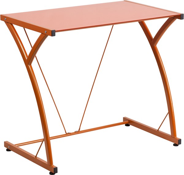 Contemporary Tempered Orange Glass Computer Desk with Matching Frame FLF-NAN-WK-SD-02-OR-GG