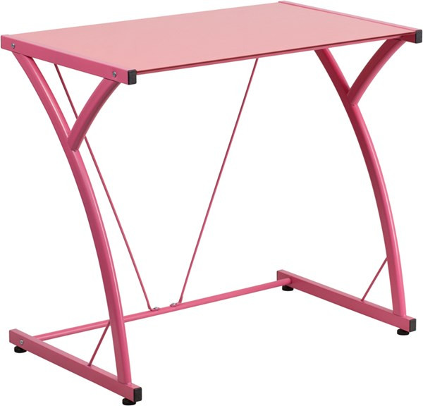 Contemporary Tempered Pink Glass Computer Desk with Matching Frame FLF-NAN-WK-SD-02-PINK-GG