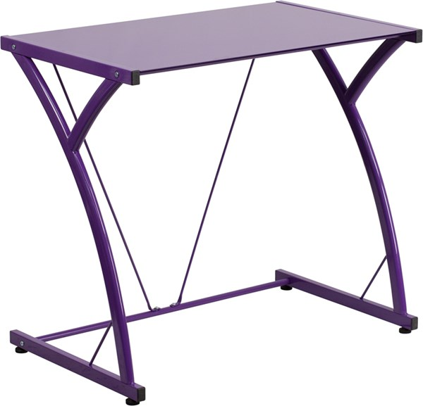 Contemporary Tempered Purple Glass Computer Desk with Matching Frame FLF-NAN-WK-SD-02-PUR-GG