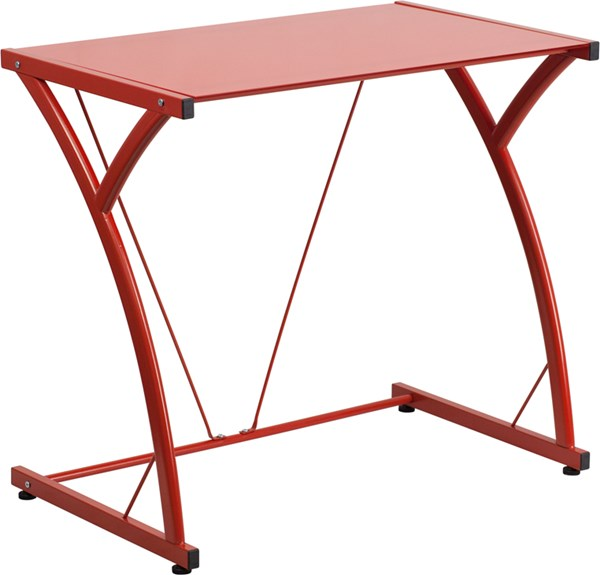 Contemporary Tempered Red Glass Computer Desk with Matching Frame FLF-NAN-WK-SD-02-RED-GG