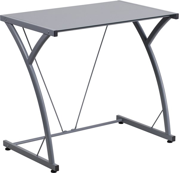 Contemporary Tempered Silver Glass Computer Desk with Matching Frame FLF-NAN-WK-SD-02-SIL-GG