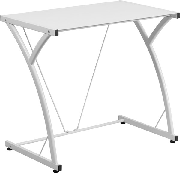 Contemporary Tempered White Glass Computer Desk with Matching Frame FLF-NAN-WK-SD-02-WH-GG