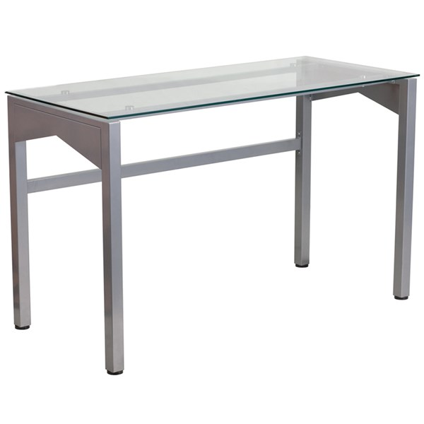 Contemporary Desk with Clear Tempered Glass Top FLF-NAN-YLCD1219-GG