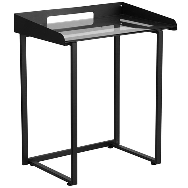 Contemporary Desk with Clear Tempered Glass and Black Frame FLF-NAN-YLCD1233-GG