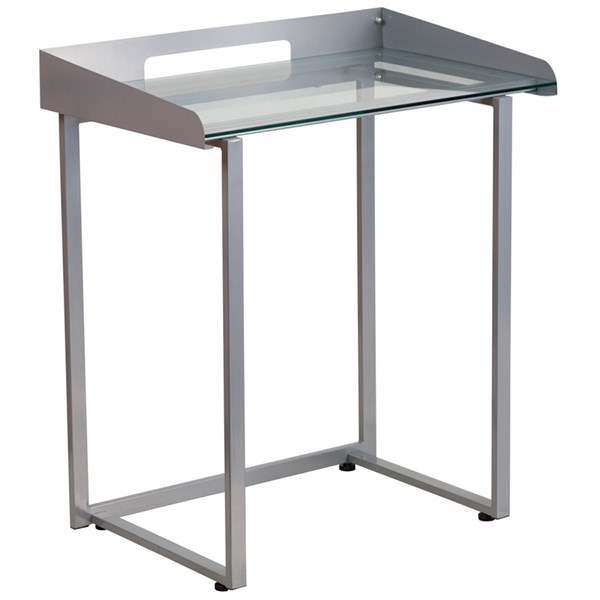Flash Furniture Clear Tempered Glass Desk with Silver Frame FLF-NAN-YLCD1234-GG