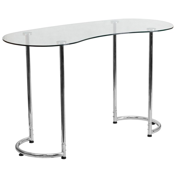 Contemporary Desk with Clear Tempered Glass FLF-NAN-YLCD1235-GG