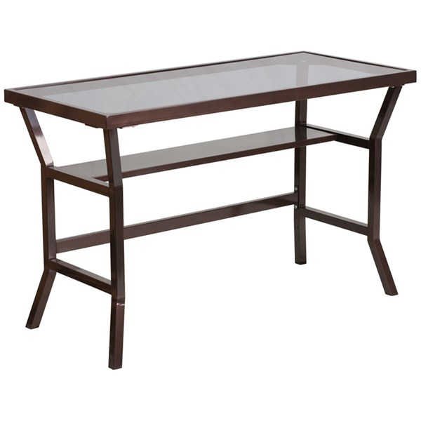 Contemporary Desk with Dark Gray Tempered Glass FLF-NAN-YLCD1237-GG