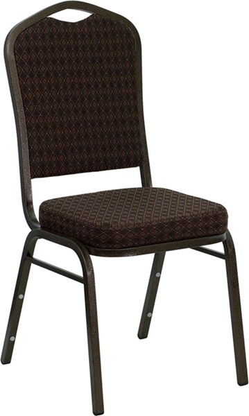 Flash Furniture Hercules Brown Gold Fabric Crown Back Stacking Banquet Chair FLF-NG-C01-BROWN-GV-GG