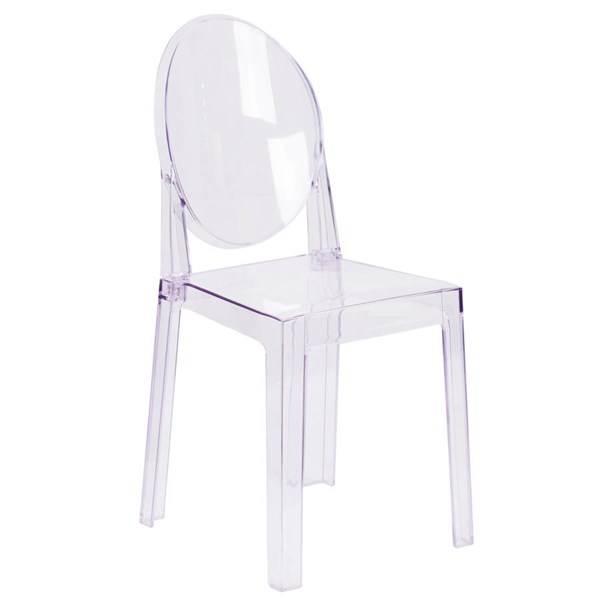 Flash Furniture Ghost Chair with Oval Back In Transparent Crystal FLF-OW-GHOSTBACK-18-GG