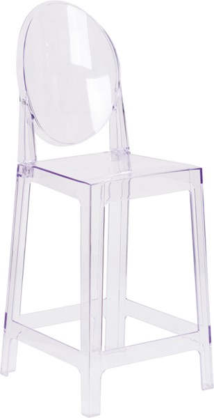 Flash Furniture Transparent Crystal Oval Back Ghost Counter Stool FLF-OW-GHOSTBACK-24-GG
