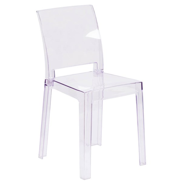 Flash Furniture Ghost Chair with Square Back In Transparent Crystal FLF-OW-SQUAREBACK-18-GG