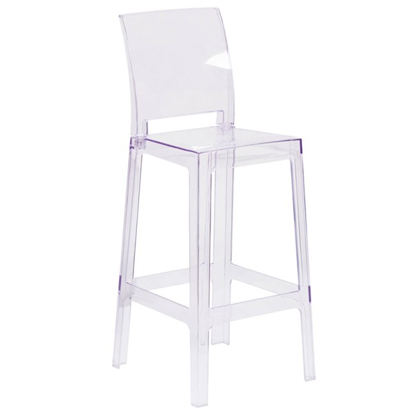 Flash Furniture Ghost Barstool with Square Back In Transparent Crystal FLF-OW-SQUAREBACK-29-GG