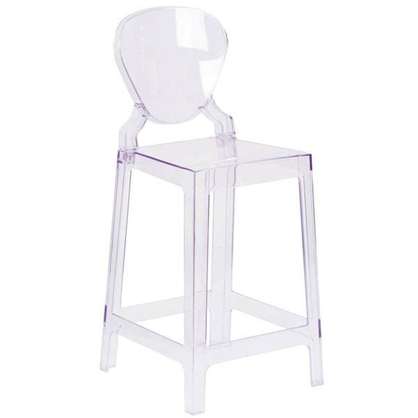 Flash Furniture Ghost Counter Stool with Tear Back In Transparent Crystal FLF-OW-TEARBACK-24-GG