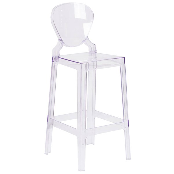 Flash Furniture Ghost Barstool with Tear Back In Transparent Crystal FLF-OW-TEARBACK-29-GG