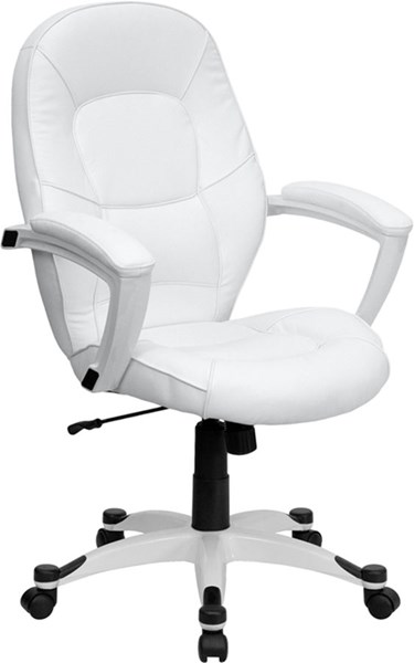 Mid-Back White Leather Executive Office Chair FLF-QD-5058M-WHITE-GG