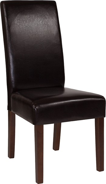 Flash Furniture Greenwich Brown Leather Parsons Chair FLF-QY-A37-9061-BRNL-GG