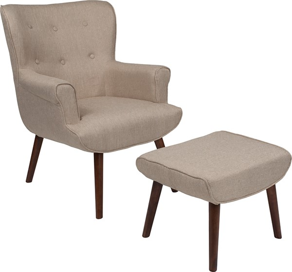 Flash Furniture Bayton Beige Fabric Wing Chair And Ottoman Set FLF-QY-B39-CO-B-GG