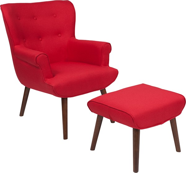 Flash Furniture Bayton Red Fabric Wing Chair And Ottoman Set FLF-QY-B39-CO-RD-GG