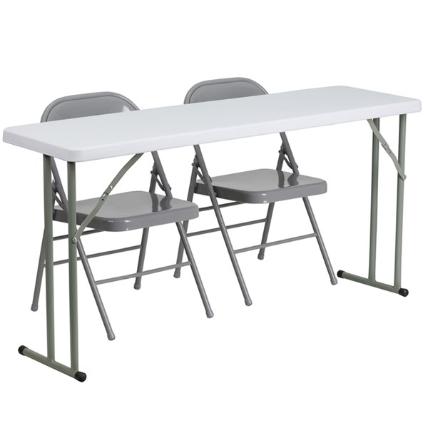 Flash Furniture 18 X 60 Plastic Folding Training Table with 2 Gray Metal Folding Chairs FLF-RB-1860-1-GG