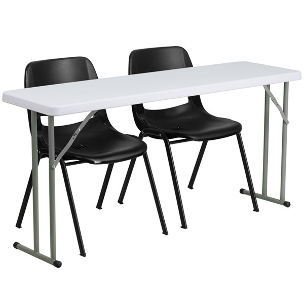 Flash Furniture 18 X 60 Plastic Folding Training Table with 2 Black Plastic Chairs FLF-RB-1860-2-GG