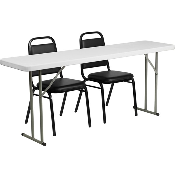 18 x 72 Plastic Folding Training Table w/2 Trapezoidal Back Chairs FLF-RB-1872-2-GG