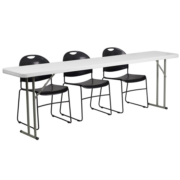 Flash Furniture 18 X 96 Plastic Folding Training Table with 3 Black Stack Chairs FLF-RB-1896-1-GG