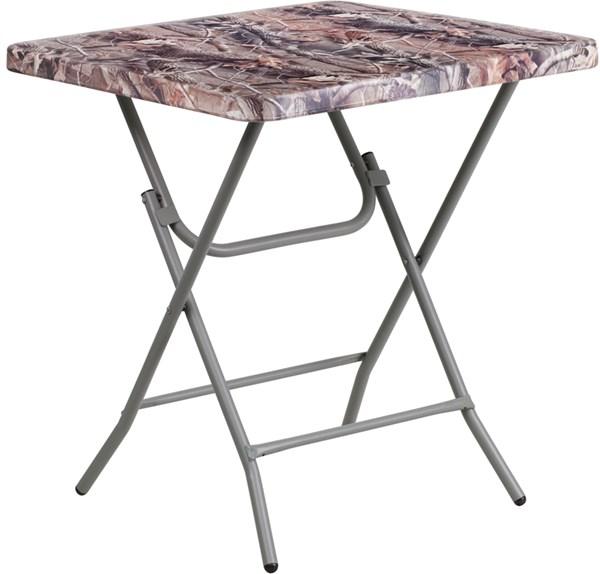 27 Inch Square Camouflage Plastic Folding Table FLF-RB-2727-74-CAM-GG