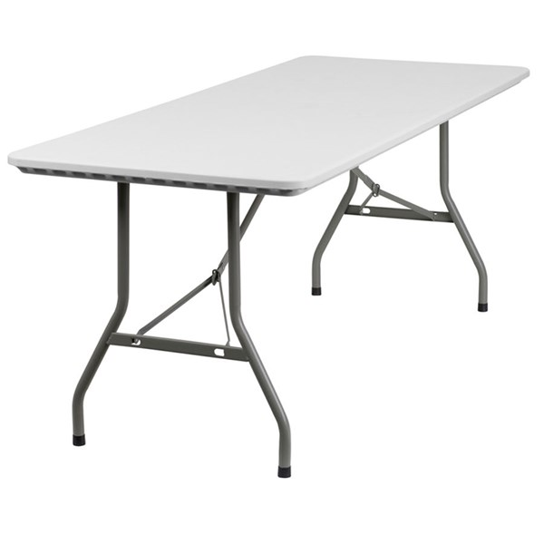 Flash Furniture 30 W X 72 L Granite White Plastic Folding Table FLF-RB-3072-GG