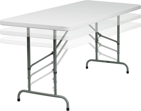 Flash Furniture 30 X 72 Height Adjustable Granite White Plastic Folding Table FLF-RB-3072ADJ-GG