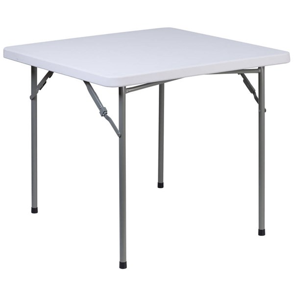 Flash Furniture 34 Inch Square Granite White Plastic Folding Table FLF-RB-3434-GG