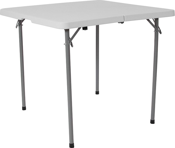 Flash Furniture Granite White 34 Square Plastic Fold Table FLF-RB-3434FH-GG