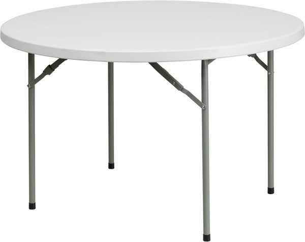 Flash Furniture White Gray Powder Coated Metal Plastic Round Folding Table FLF-RB-48R-GG