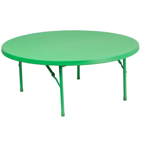 Flash Furniture 48 Inch Round Kids Green Plastic Folding Table FLF-RB-48R-KID-GN-GG