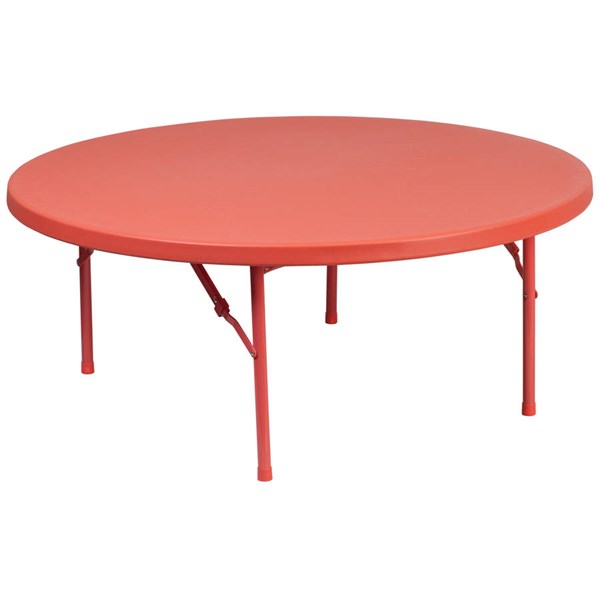 Flash Furniture 48 Inch Round Kids Red Plastic Folding Table FLF-RB-48R-KID-RD-GG