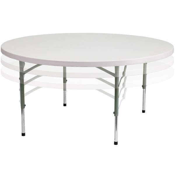 60 Inch Round Height Adjustable Granite White Plastic Folding Table FLF-RB-60-ADJUSTABLE-GG