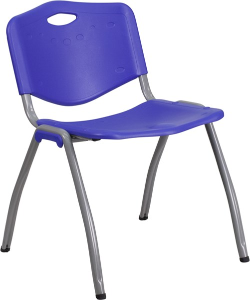 Hercules Navy Metal Plastic Stack Chair W/Gray Frame FLF-RB-D01-NY-GG