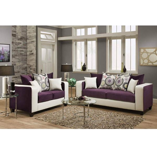 Flash Furniture Riverstone Purple Track Arms Living Room Set FLF-RS-4120-05LS-SET-GG
