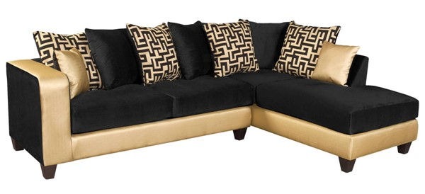 Flash Furniture Riverstone Black Gold 2pc Sectional FLF-RS-4124-07SEC-GG