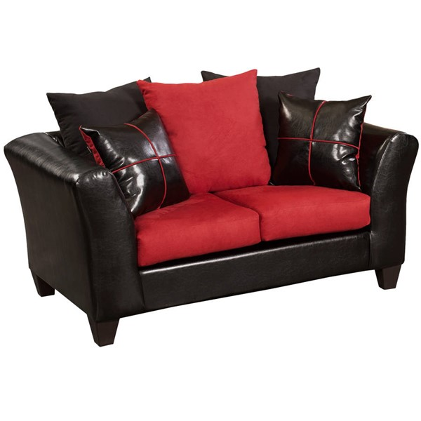 Flash Furniture Riverstone Red Black Flared Arms Loveseat FLF-RS-4170-04L-GG