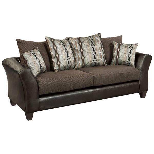 Flash Furniture Riverstone Chocolate PU Flared Arms Sofa FLF-RS-4173-01S-GG
