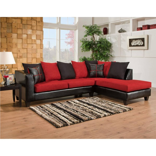 Flash Furniture Riverstone Red Black Microfiber 2pc Sectional FLF-RS-4184-04SEC-GG